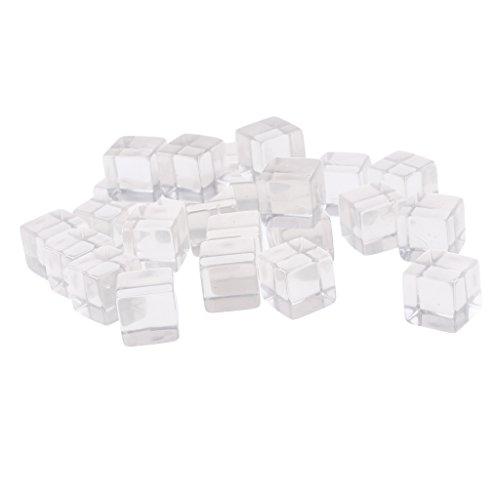 MagiDeal 25er-Set Acryl Transparent Blanko D6 Sechsseitig Würfel für Brettspiel, Bunt - Klar