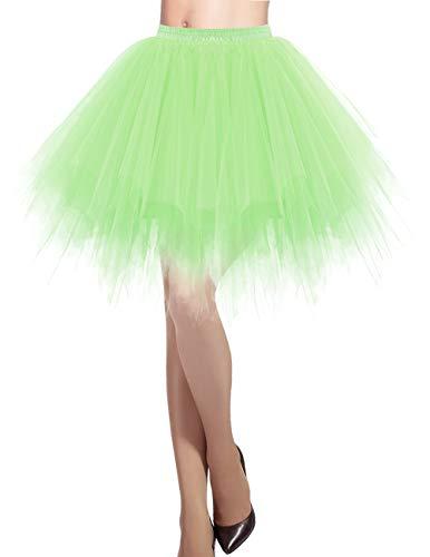 DRESSTELLS Damen Tüllrock 50er Rockabilly Petticoat Tutu Unterrock Kurz Ballett Tanzkleid Ballkleid Abendkleid Gelegenheit Zubehör Mint L