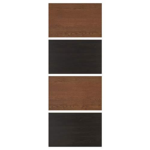 MEHAMN fyra paneler för skjutdörr 75 x 201 cm svartbrunmålad askeffekt/brunfärgad askeffekt