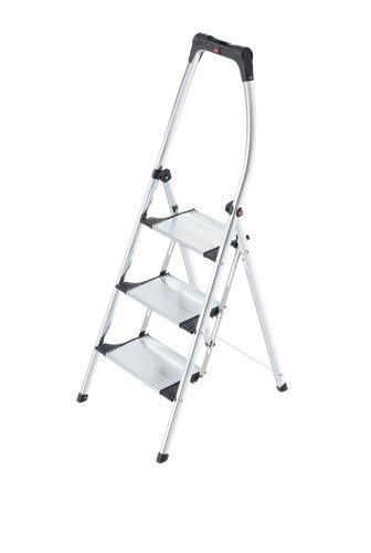 Hailo K100 TopLine Alu-Klapptritt-Leiter   3 extra große Stufen bis 150kg   Komfort-Trittleiter mit hochgeschwungenem Sicherheitsbügel & Ablageschale   Füße mit Soft-Grip-Sohle   rostfrei   silber
