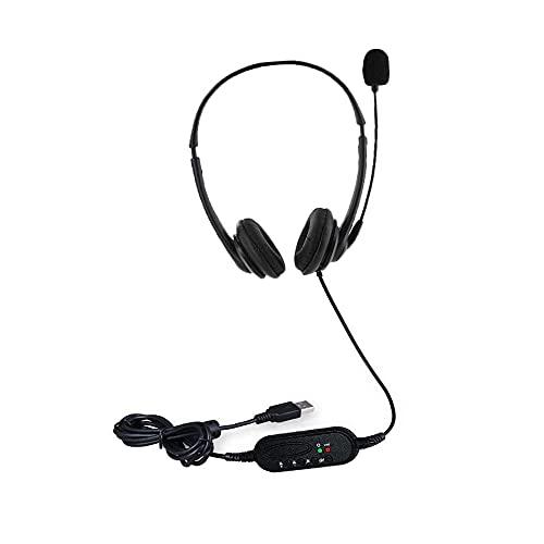 Funien Auriculares USB con micrófono,Auriculares con Cable con Enchufe USB Auriculares biauriculares Manos Libres con micrófono con cancelación de Ruido Botón de Control de Volumen de Silencio para