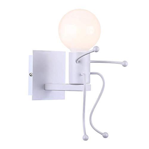 UMOOIN ApliquesLámpara de Pared Luz de Pared Vintage, Retro, Creativo Industrial Robot lámpara de Pared Art Deco Hierro Base E27 para el Dormitorio de Noche,White Single Head