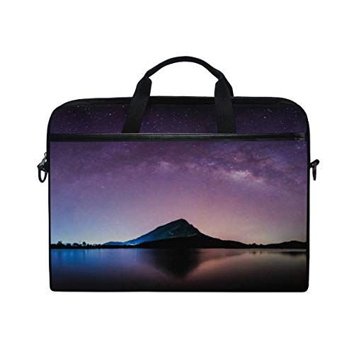 Laptop Shoulder Messenger Bag Case Sleeve for 15 Inch 15.4 Inch Laptop Case Laptop Briefcase Night Landscape Mountain Milkyway Galaxy Background