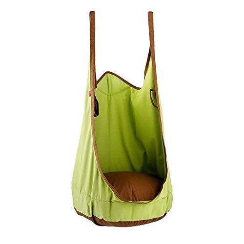 Columpio Infantil Juego de Swing para niños Creative Children's Swing para niños Interior y al Aire Libre Hamaca de Ocio Silla Cesta Adulta portátil Set (Color : Green)