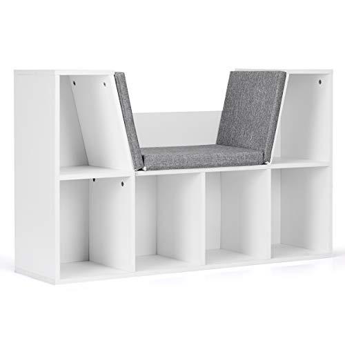 GOPLUS Bücherregal Weiß, Bücherschrank mit Sitzbank, Standregal aus Holz, Aufbewahrungsregal Aktenregal Holzregal mit Kissen