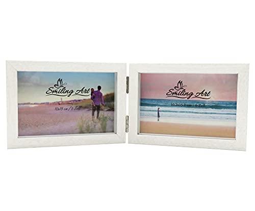 Smiling Art Bilderrahmen für 2 Fotos aus MDF Holz mit Glasscheibe, klappbarer Bilderrahmen, Doppelrahmen (Weiß, Querformat, 2x10x15 cm)
