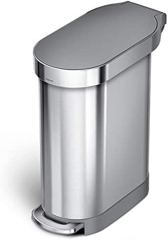 simplehuman 45 Liter 12 Gallon Slim Hands Free Kitchen Step Trash Can with Liner Rim Brushed product image