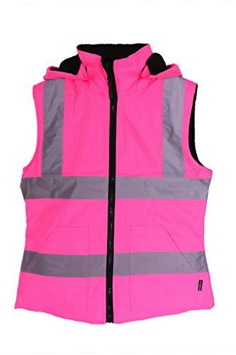 Werk Kit Meisje Womens Omkeerbare Hoge Vis Gilet - Zwart/Roze
