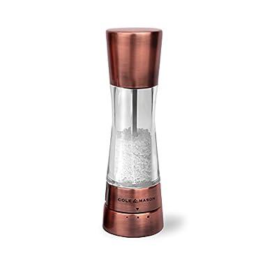 COLE & MASON Derwent Salt Grinder - Copper Mill Includes Gourmet Precision Mechanism and Premium Sea Salt