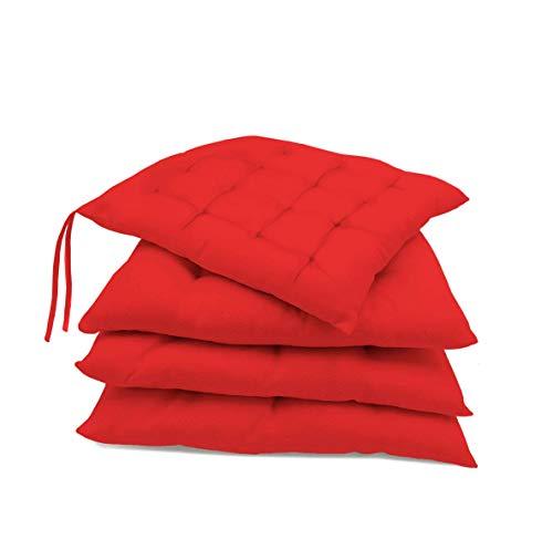 Pack de 4 Cojines para sillas jardín, Comedor, Cocina | Cojines Acolchados para Silla de 40 x 40 cm | Decoración hogar Ideal para sillas (Rojo)