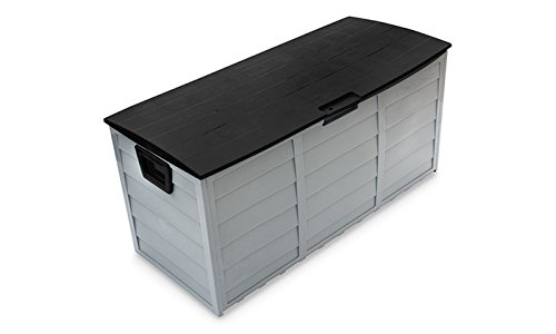 PROGEN Outdoor Waterproof Plastic Garden Storage Deck Container Box toy box chest shed 250 Litre ltr with wheels (BLACK)