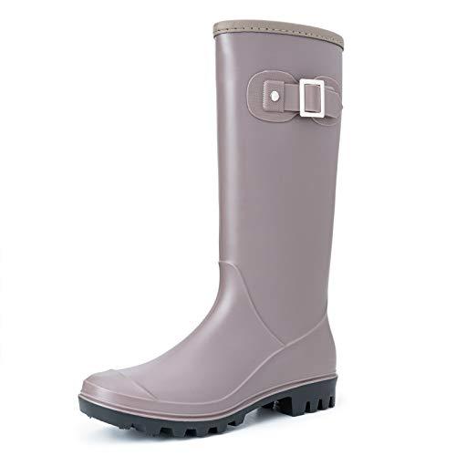 Camfosy Womens Rain Boots, Fully Waterproofy Original Tall Wellington Boots Ladies Mid Calf Flat Rubber Wellies Shoes Wide Fit Outdoor Anti Slip Rain Shoes Garden Walking Garden Grey
