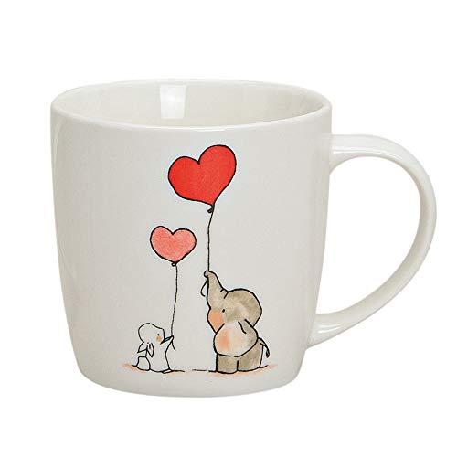 jakopabra Tasse Kaffeetasse Teetasse Elefant und Hase/Porzellan Becher mit süßem Druck/Elefanten Tasse