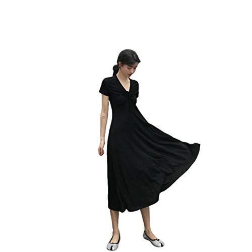 fregthf Vrouwen Jurk Casual Gebreide jurken zomer korte mouw Elegant Party Dress Elastische hoge taille Black 2XL