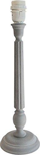 Runder Tischlampenfuß, Landhausstil, HAMPSHIRE aus Holz, matt grau H= 44,50 cm, Fassung E27, geeignet für Schirme von etwa 25-28cm Durchmesser, Landhausstil, shabby chic Energieklassen A++ bis E