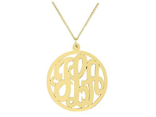 Collar con monograma personalizado de 35 mm de plata de ley o chapado en oro amarillo plata Pedido especial, hecho a pedido.