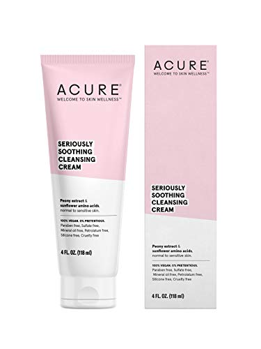 ACURE Seriously Soothing Cleansing Cream   100% Vegan   For Dry to Sensitive Skin   Peony Extract & Chamomille - Soothes , Hydrates & Cleanses   4 Fl Oz