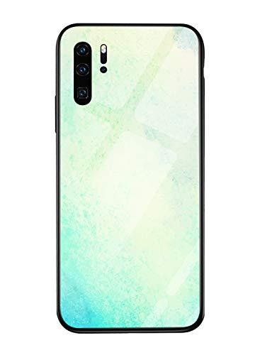 Oihxse Mode Coloré Dégradé Case Compatible pour Huawei P10 Lite/Nova Lite Coque Revêtement Arrière en 9H Verre Trempé Protection Housse Mignon Silicon