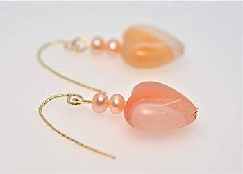 14K Gold Fill Freshwater Pearl Carnelian Heart Earrings for Women Valentine s
