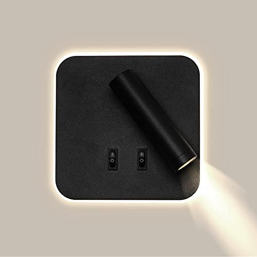 Temgin LED Aplique Pared Giratorio con 2 Interruptores Blanco Neutro Luz Pared para Lectura Negro Mate Lámpara de Pared para Dormitorio Sala de Estar Escalera Pasillo 4000K Aluminio