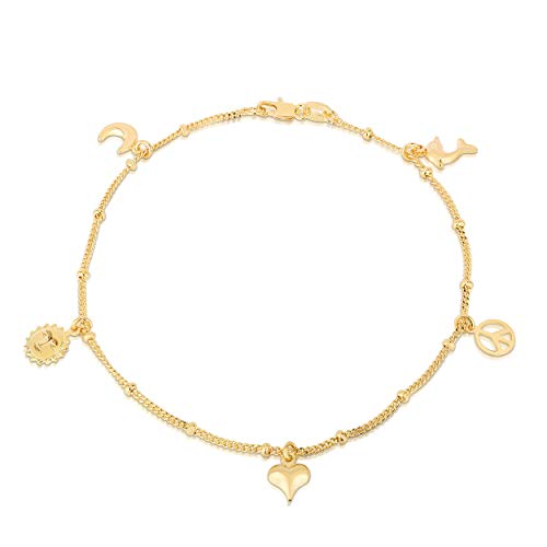 14K Gold Plated Charm Anklets For Women Girls, Dainty Foot Jewelry, Fashion Accessories and Gadgets, Summer Beach 10 Inch Ankle Bracelets, Cute Chain Link Anklet