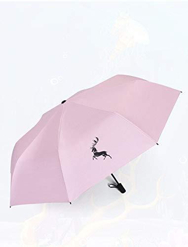 NJSDDB paraplu Kerstmis vouwparaplu Effen kleur herten paraplu Anime Zwart Plastic Coating Parasol Winddicht Anti-Uv Parasol, roze