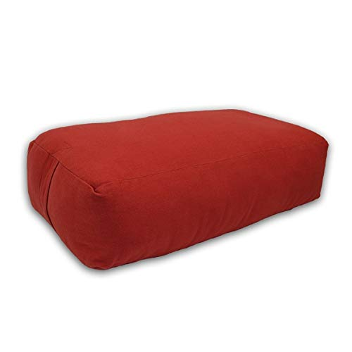 YogaDirect Supportive Rectangular Cotton Yoga Bolster, Cardinal Red