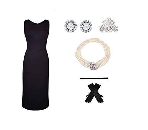 Utopiat Geschenk-Boxed Cotton Black Kleid und 5-teiliges Kostüm-Set, inspiriert von Audrey Style (XS with Gift Box)