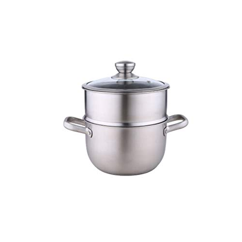 Best Buy! 304 Stainless Steel Soup Pot Steamer, Dual-use 2 Layer Steaming Rice Pot, Household Small ...