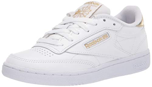 Reebok womens Club C Sneaker, White/Gold Metallic, 8 US