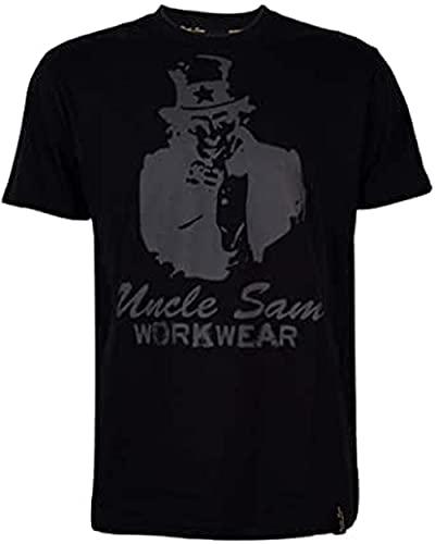 Uncle Sam Herren T-Shirt mit großem Frontdruck, Größe:4XL, Farben:Anthrazit/Schwarz