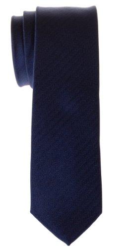 Retreez Cravate Fine Slim micro tissée à rayures en épi pour homme - Bleu marin