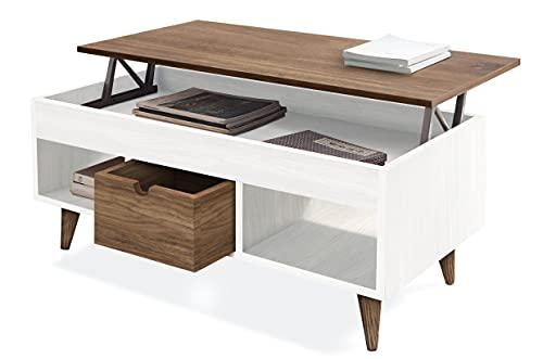 Atelier-Mesa Centro Elevable Madera Maciza Natural, Combinado Color Blanco y Madera. Medidas;100cm x 50cm x 47cm. 🔥