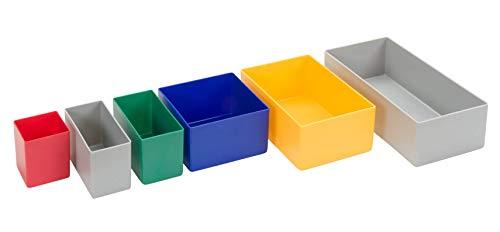 25 Stück Einsatzkasten Serie E63, farblich sortiert, 5 Farben u. 4 Größen, aus Polystyrol, Industrienorm, für Schubladen, Sortimentskästen etc. (farbmix, 63/3 108x108x63 mm)