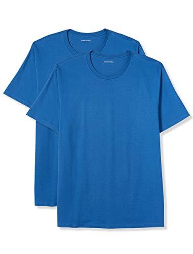 Amazon Essentials Men's Big & Tall 2-Pack Short-Sleeve Crewneck T-Shirt fit by DXL, Imperial Blue, 4X