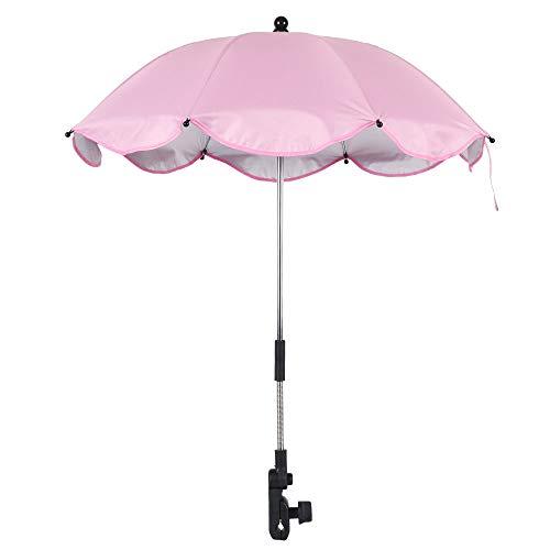 Paraguas universal para cochecito de bebé, 64 cm, accesorio para cochecito de bebé, con dirección ajustable a 360 grados, para proteger a bebés y niños (rosa)