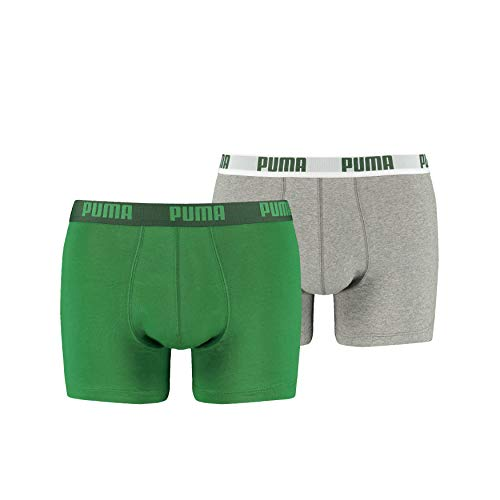 PUMA Herren Basic Boxer 2P Unterwäsche, Mehrfarbig (Amazon Green/Grau), XL