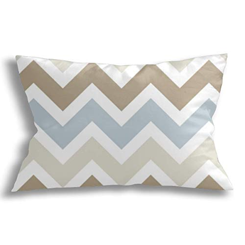KCOUU Decorative Cushion Covers Pillowcase Soft Cotton Breathable Pillow Covers Smoky Blue Gray Tan and Brown Chevron Modern Design for Couch Sofa Bed Car with Zipper 18x18 inch