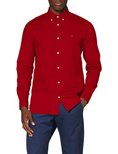 Tommy Hilfiger Herren Slim Stretch Poplin Shirt Hemd, Arizona Red, S