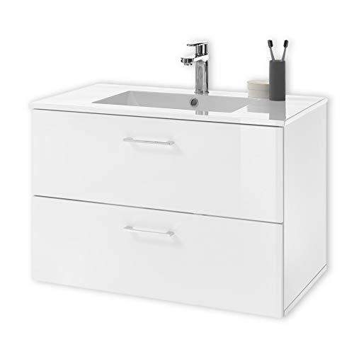 BEST Waschbeckenunterschrank hängend mit Waschbecken in Weiß - Bad Unterschrank mit Softclose Schubladen & viel Stauraum - 99 x 53 x 45 cm (B/H/T)