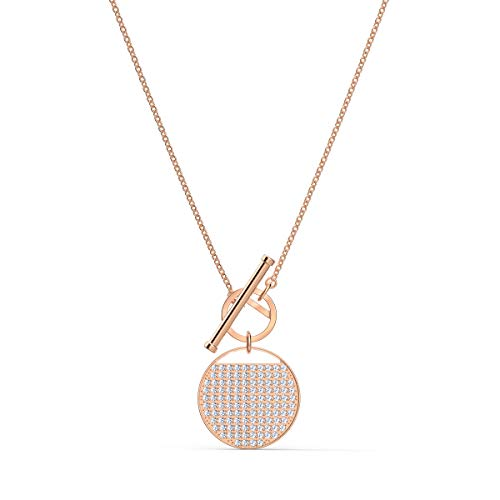 Swarovski Women's Ginger Necklace, Stunning White Crystals in a Rose-Gold Tone Plated Pendant with a Stylish T-Bar Closure