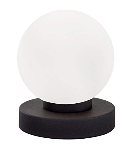 Reality Leuchten Tischleuchte Prinz R5400-24, Metall rostfarbig, Glas weiß, E14 exklusive, 4-fach Touch Dimmer