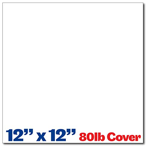 Heavyweight 80lb Cover Bright White 12x12 Cardstock Scrapbook Paper - 40 Pack