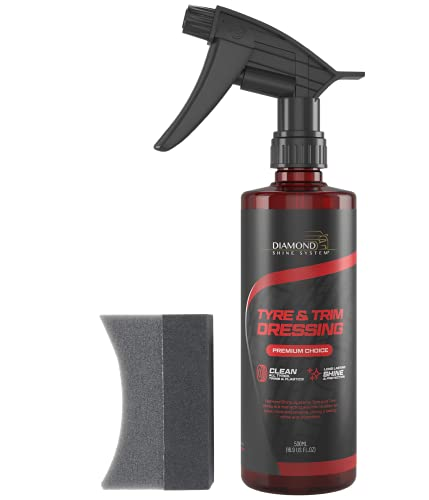 Diamond Shine System Tyre and Trim Dressing with Tyre Applicator Pad - Car Tyre Shine and Car Tyre Cleaner with Applicator Sponge - Instant Tyre Dressing for Car Cleaner and Wheel Shine - 500 ml