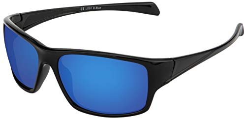 La Optica B.L.M. Sonnenbrille UV400 CAT 3 Unisex Damen Herren Sportbrille Fahrradbrille Tennis - Schwarz (Gläser: Blau Verspiegelt)