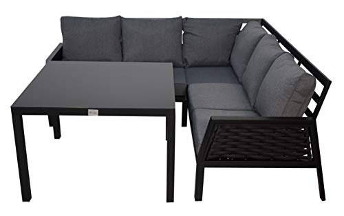 Jet-line Lounge Ariana Tuinset, zwart, hoekbank, tuin, terras met tafel, hoeklounge, tuinmeubelen