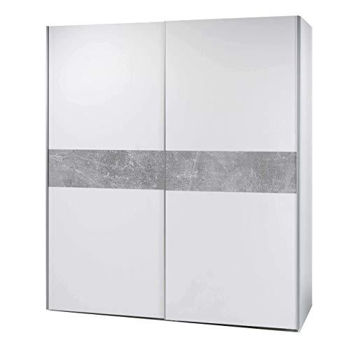 AVANTI TRENDSTORE - Peer - Armadio con 2 ante scorrevoli, corpo in legno laminato di colore bianco con decoro in grigio cemento d'imitazione sul lato frontale, dimensioni: LAP 170x195x61 cm (Armadio)