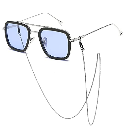 SHEEN KELLY Gafas de Spider Man Edith de gran tamaño Gafas de sol Tony Stark Cadena retro Marco plateado cuadrado Lente gris claro con revestimiento interior azul para hombres y mujeres