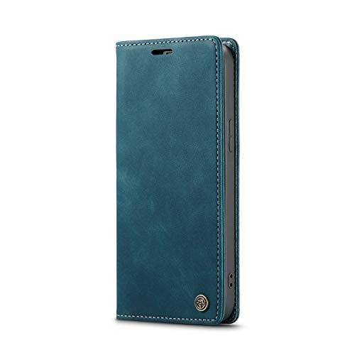 Wallet Leather Case for iPhone 12 pro MAX,Blue Leather Full Protection with Cash Slot 6.7inch Kickstand Retro 2 Card Slot (ID Card,Credit Card) Flip Shell,Accurate Cutouts Gift Girls Boys Unisex