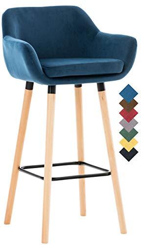 CLP Taburete Grant Tapizado En Terciopelo Estilo Velvet I Silla Alta De Bar Con Base De Madera I Taburete Con Reposabrazos & Reposapies I Color: Azul